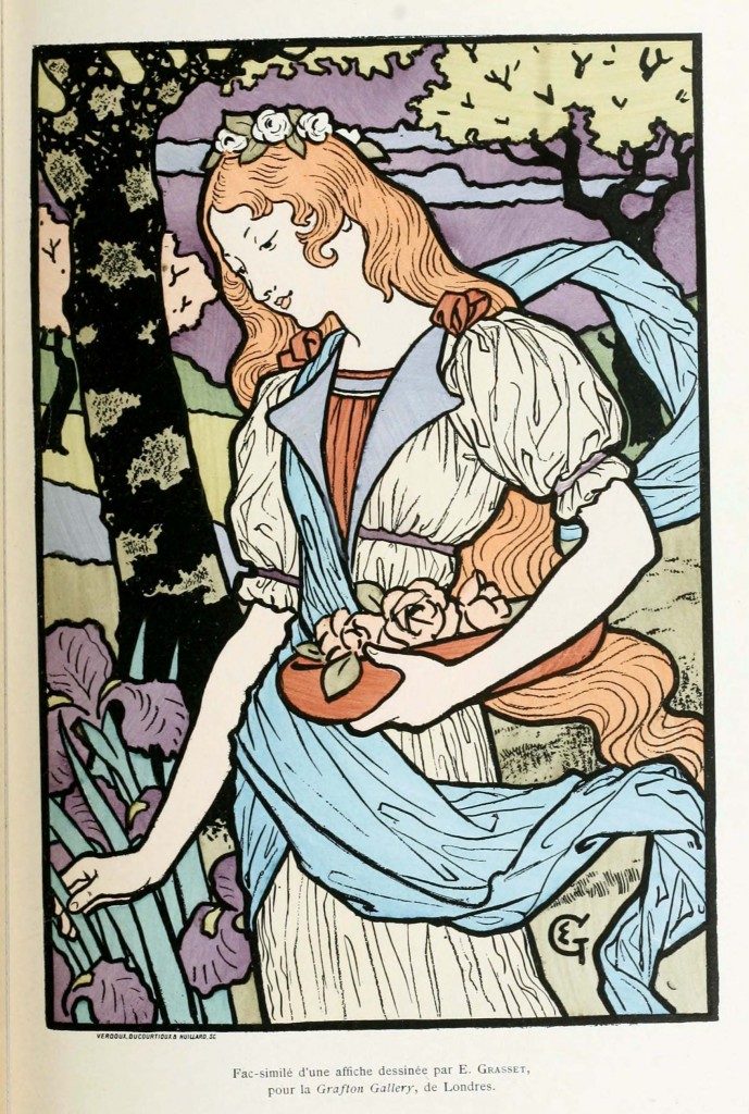 Eugene Grasset Art Nouveau Print Woman Collecting Flowers