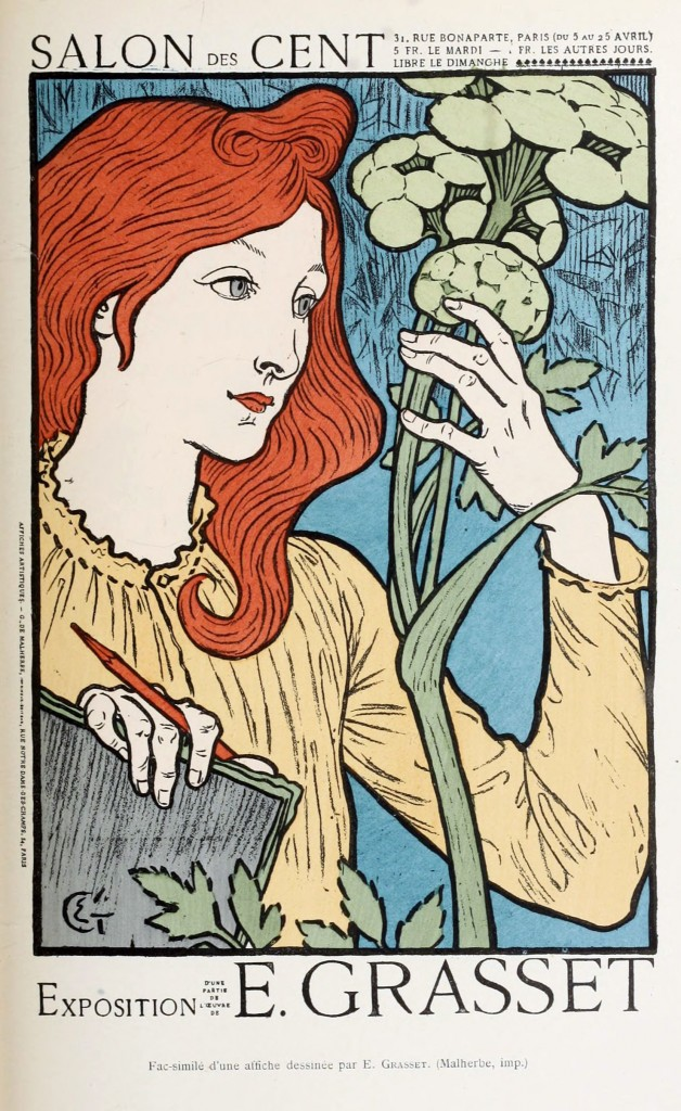 Eugene Grasset Art Nouveau Print Woman Observing Flowers