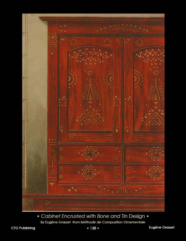 Eugene Grasset Wood Cabinet Art Nouveau Design