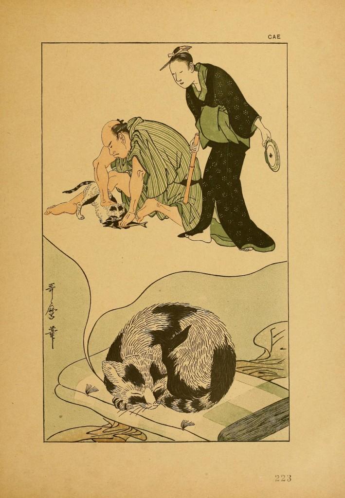 Cat Dreaming by Utamaro (Outamaro)