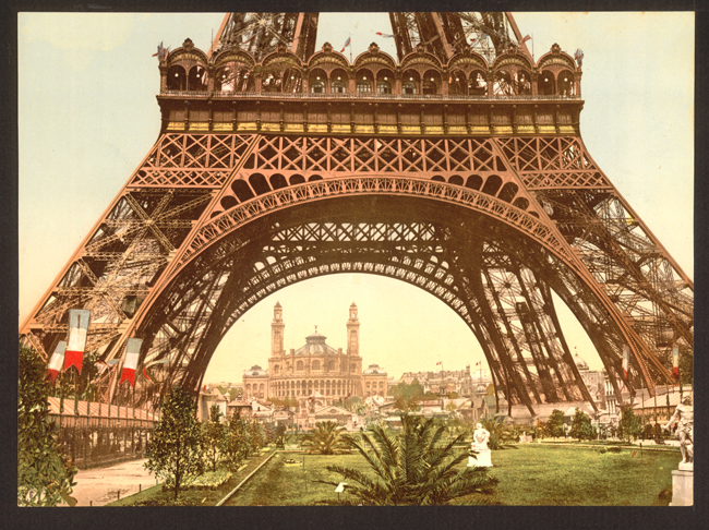 View of Trocadero through the Eiffel Tower at the Paris Exposition of 1900