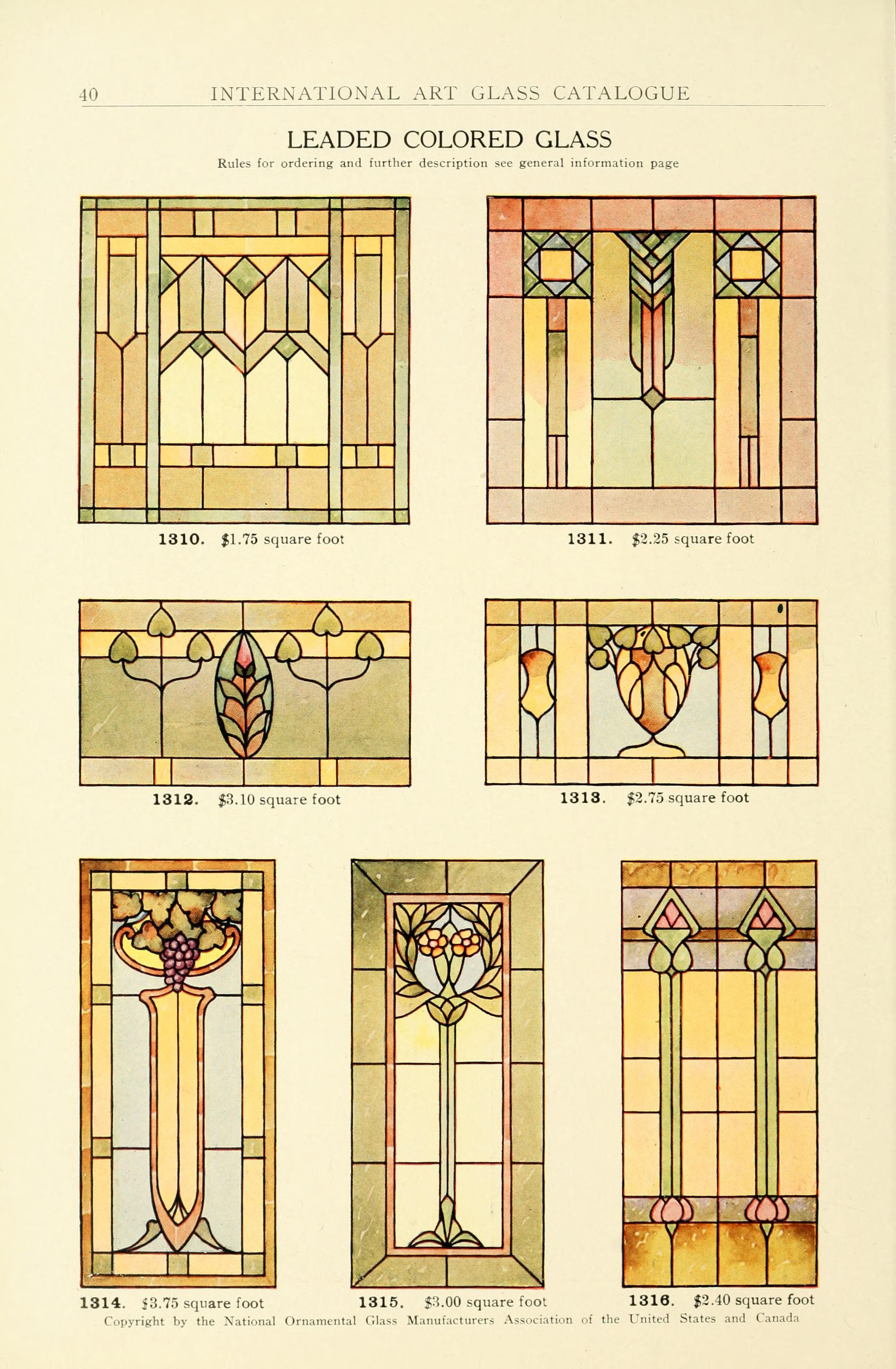 Window art glass of 1914 by the national ornamental glass for Window companies
