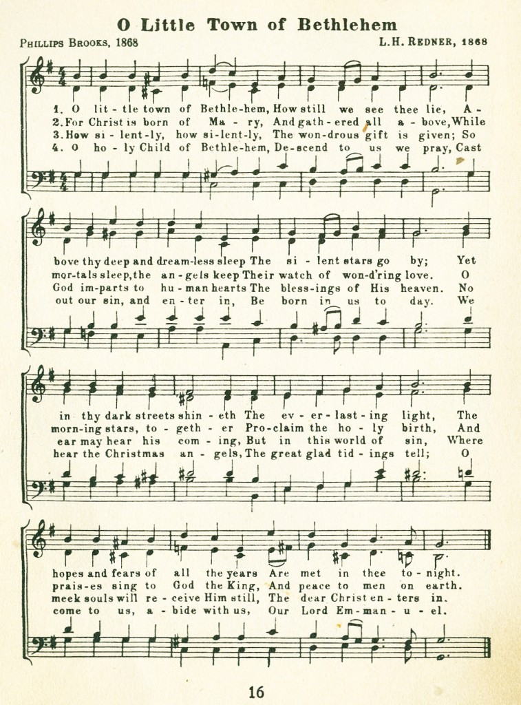 Christmas Carol Music.Oh Little Town Of Bethlehem Christmas Carol Music And Words