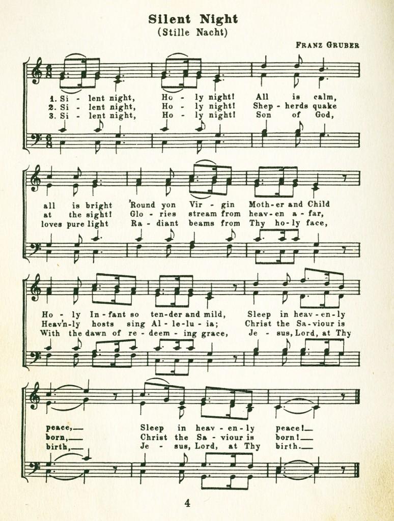 Silent Night Christmas Carol Music and Words -