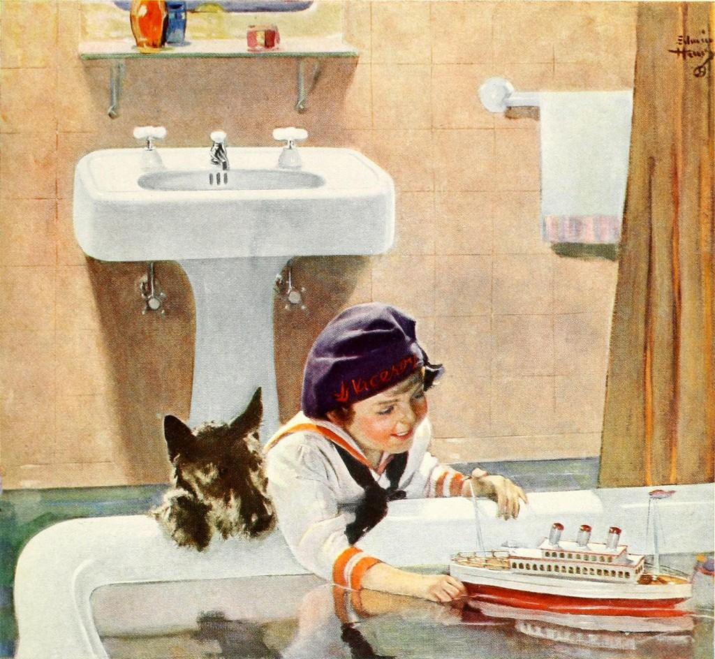 Vintage bathroom ads - Kohler Co Bathroom Ad By Edwin Henry Circa 1927 Girl Playing With A Boat In Bathtub