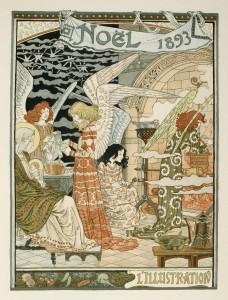 Cuisine des Anges or Angels Kitchen A Christmas Illustration circa 1893 by Eugene Grasset