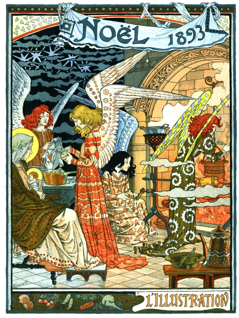 Cuisine des Anges or Angels Kitchen A Christmas Illustration circa 1893 by Eugene Grasset