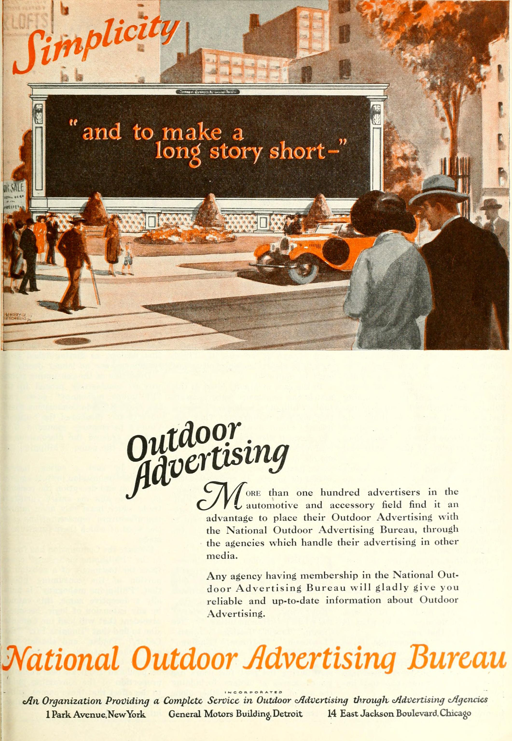 national outdoor advertising bureau 1926 ad simplicity to. Black Bedroom Furniture Sets. Home Design Ideas