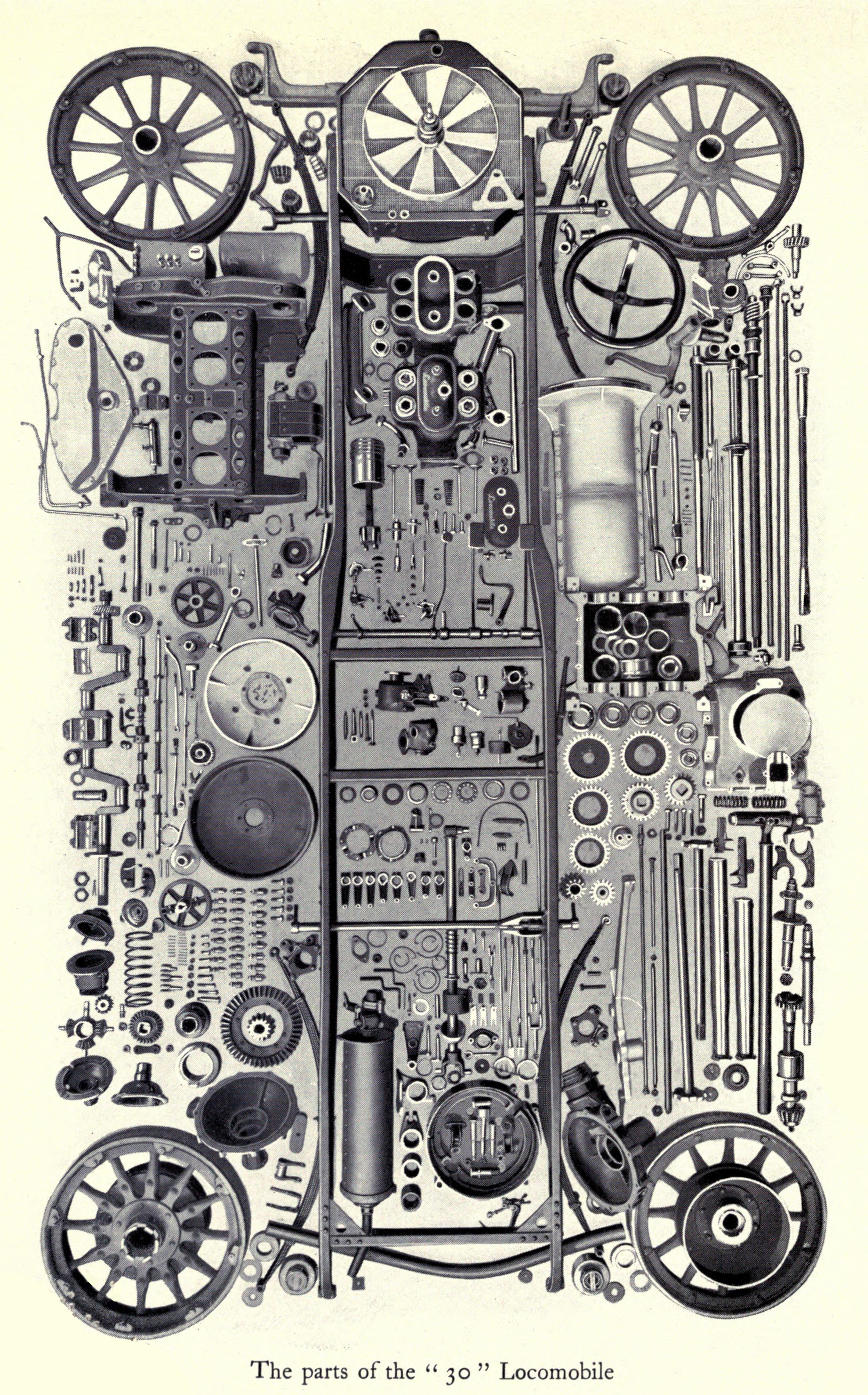 Antique Locomobile 30 Car Parts Illustration circa 1911 -