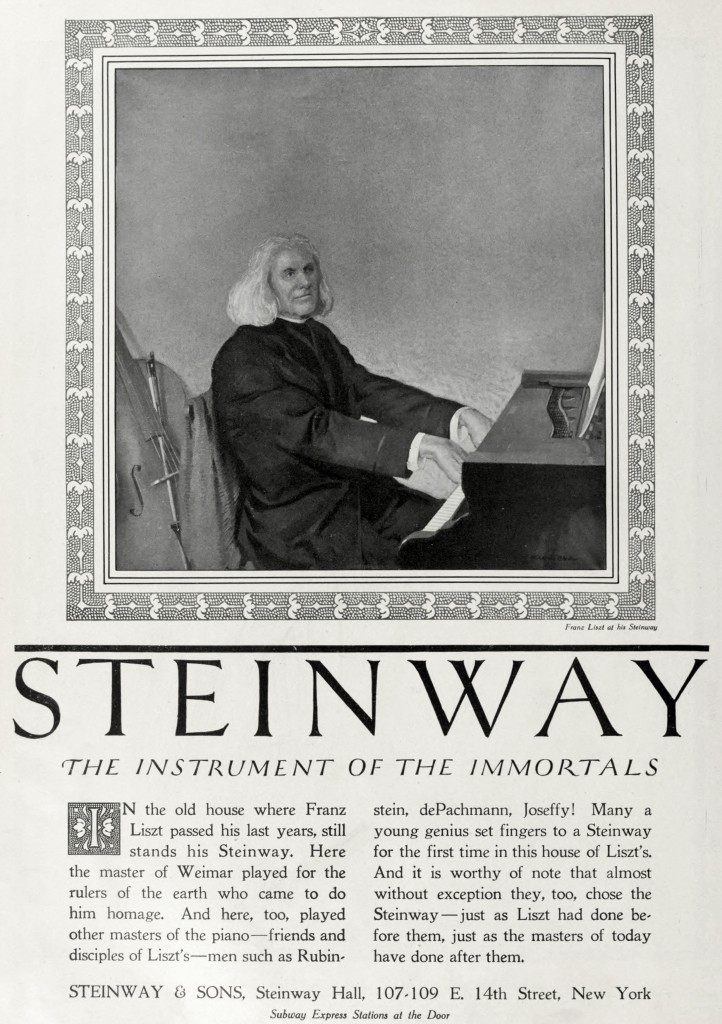 Franz Liszt Steinway Piano Advertisement circa 1920