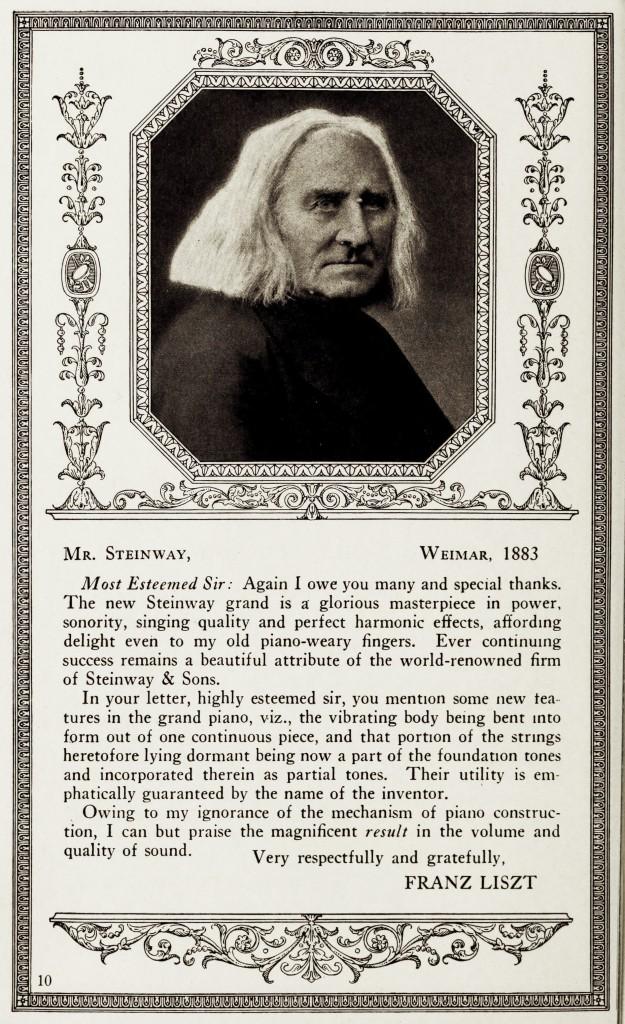 Franz Liszt Steinway Piano Testimonial circa 1883