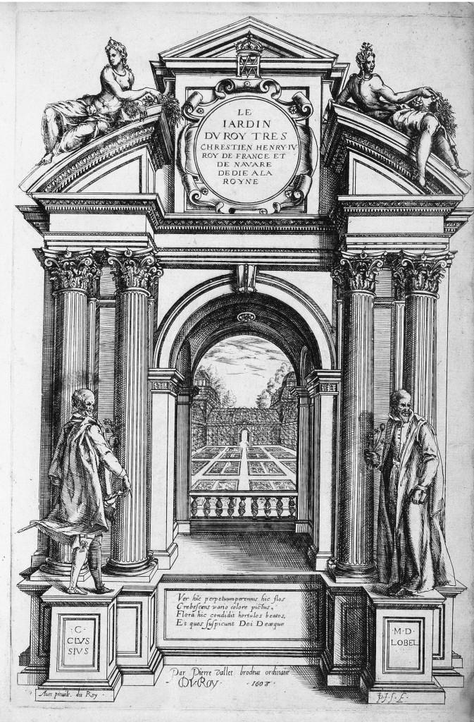 Book Frontispiece from Le jardin du Roy tres chrestien by Pierre Vallet circa 1623