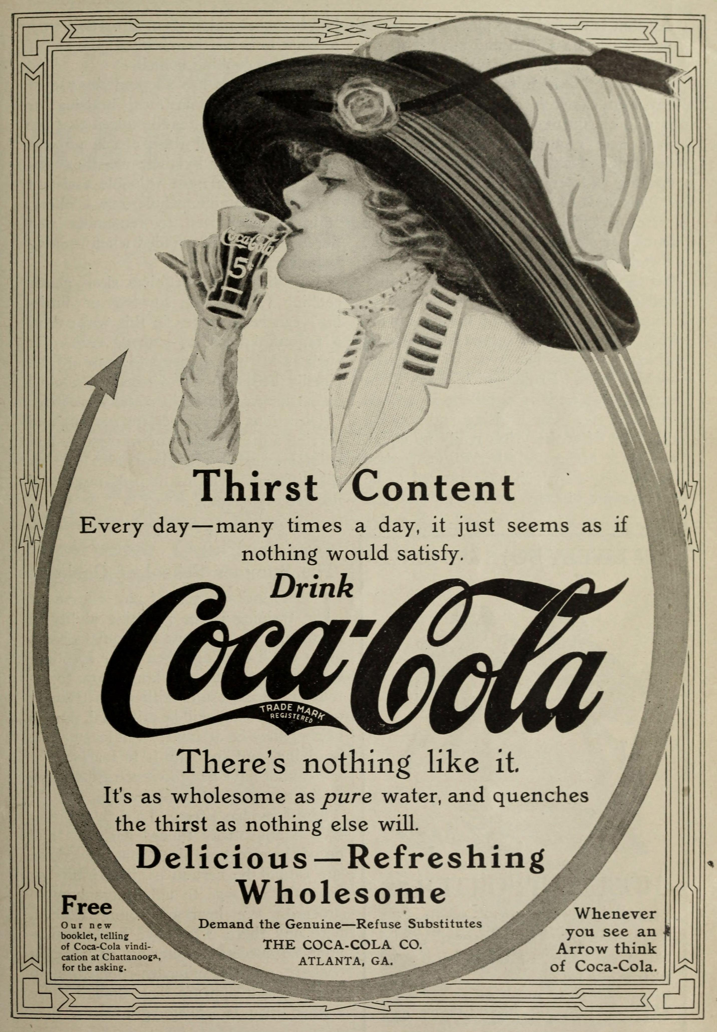 Coca-Cola Ad circa 1911 - Woman Enjoying Coke Wearing a Lovely Hat