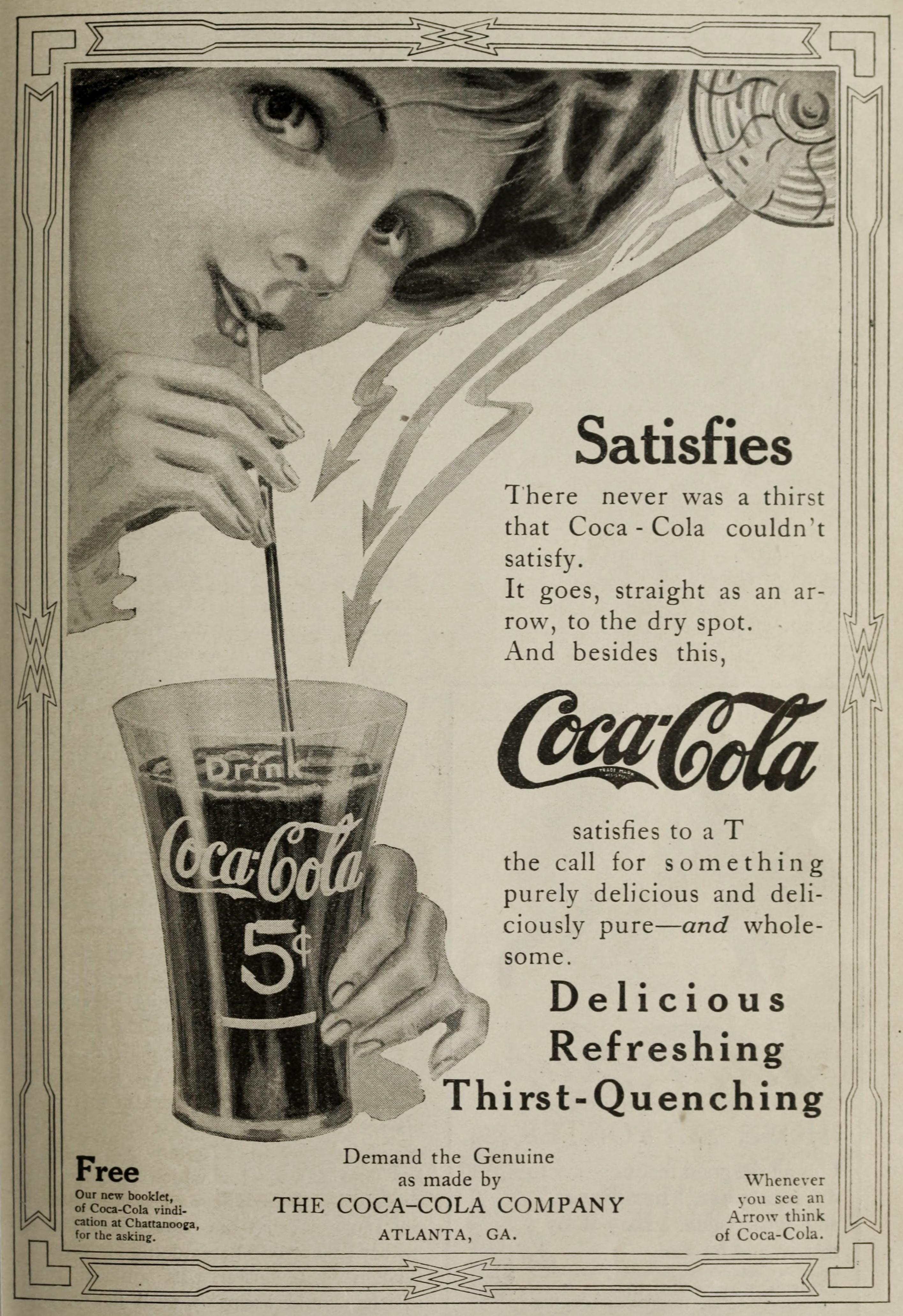 Coca-Cola Ad circa 1911 - Woman Enjoying Coke