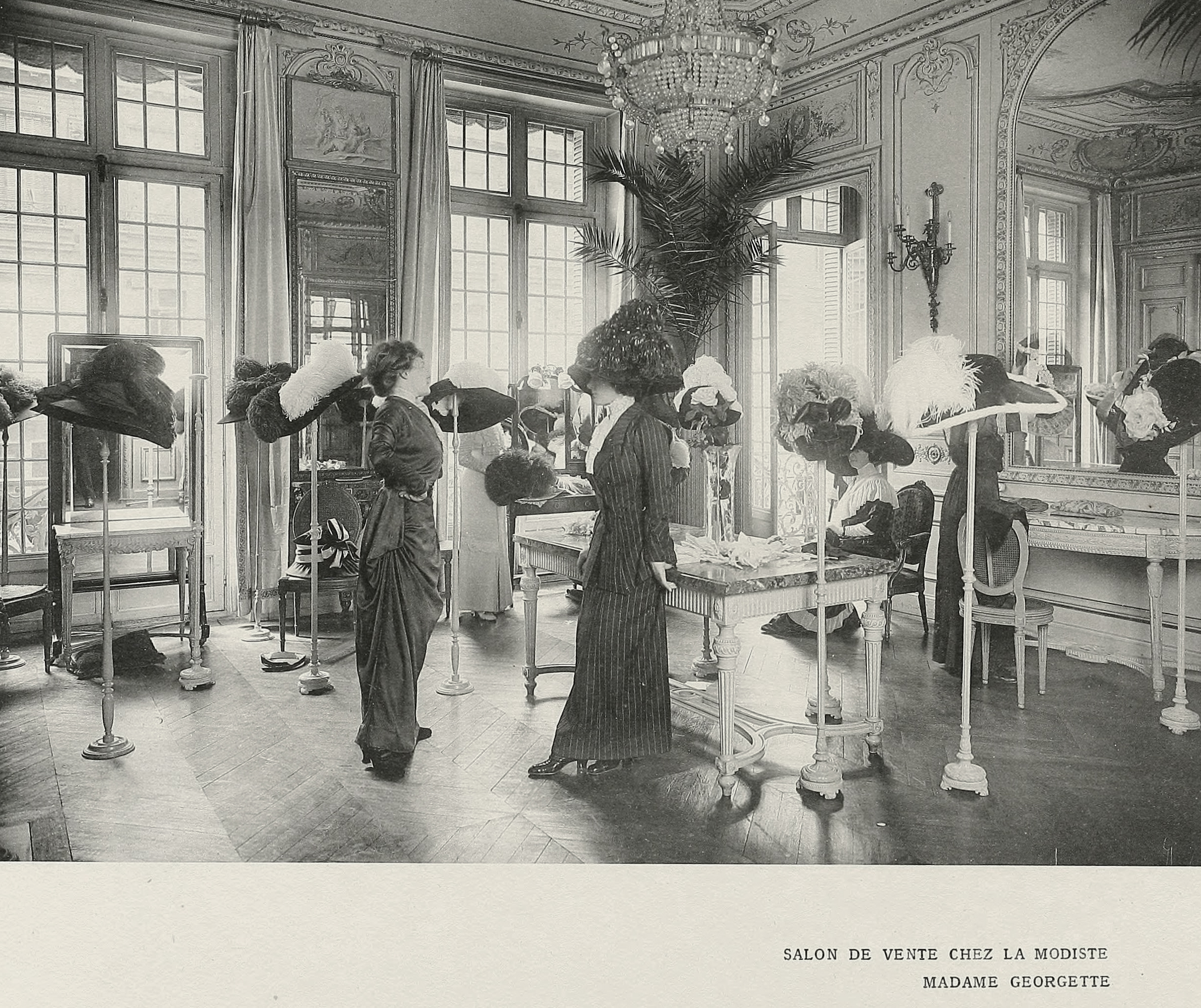 French Hat Shop Millinery Image circa 1910 - 790e33fb1f8