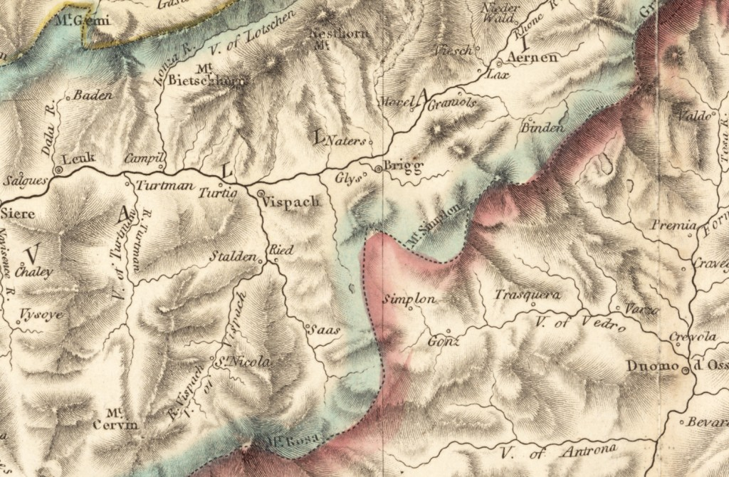 Illustrations of Swiss and Italian Alps and Map circa 1810