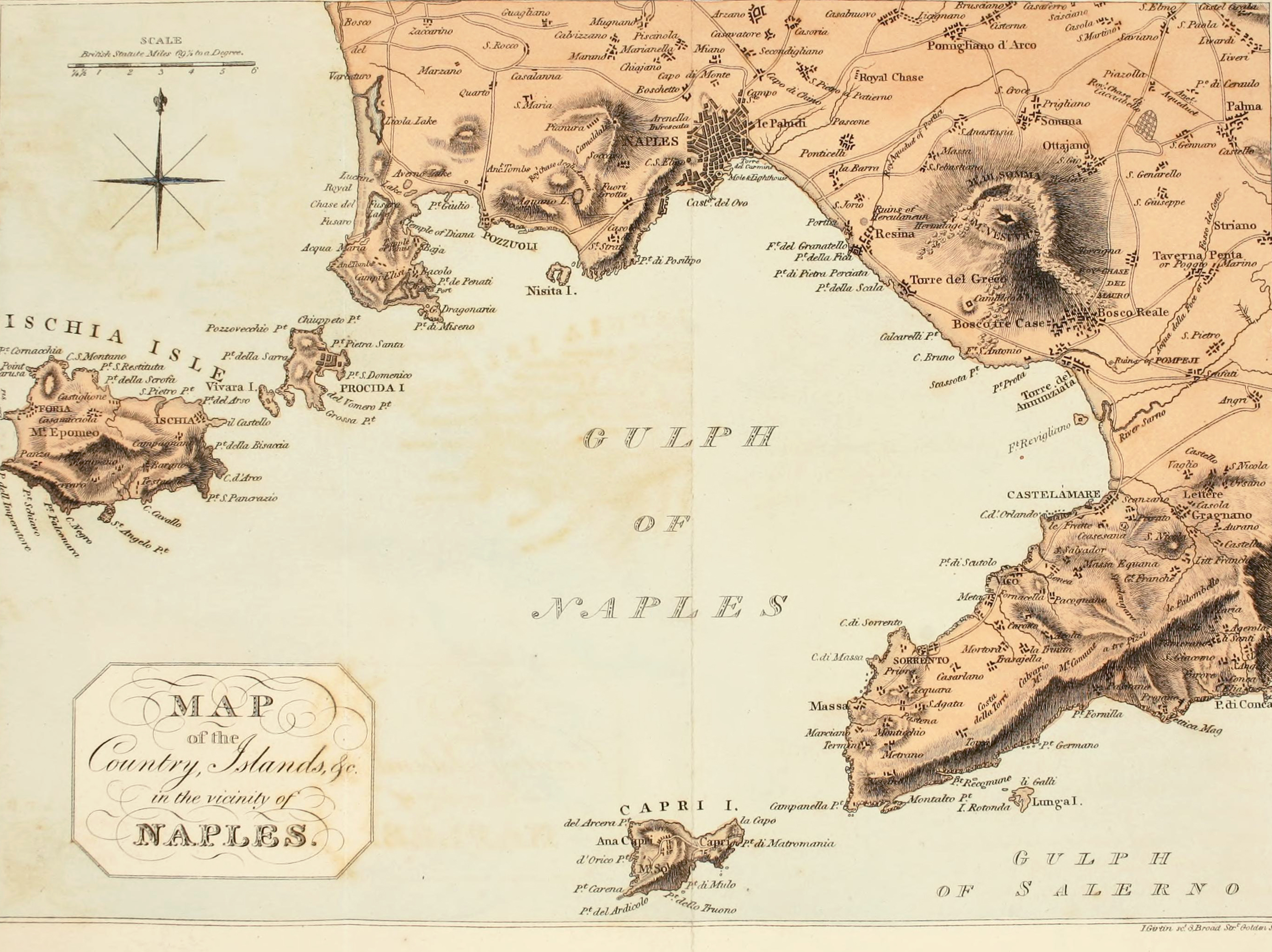 Map Of The Gulf Of Salerno Of Capri Circa 1802 As Published In 1815