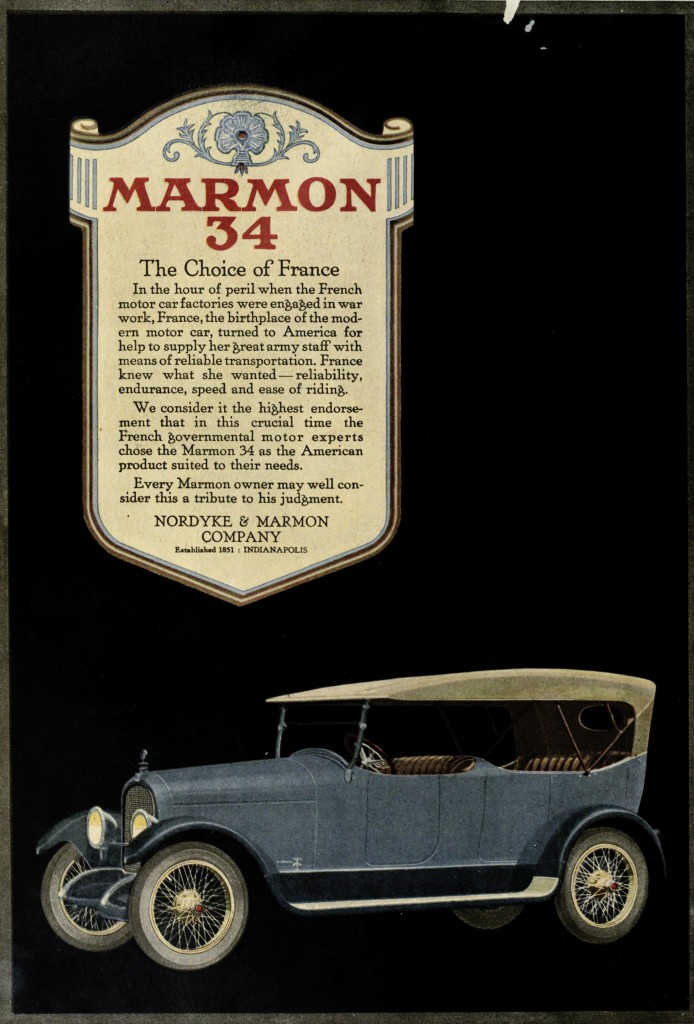 Marmon 34 Car - The Choice Of France Advertisement 1918