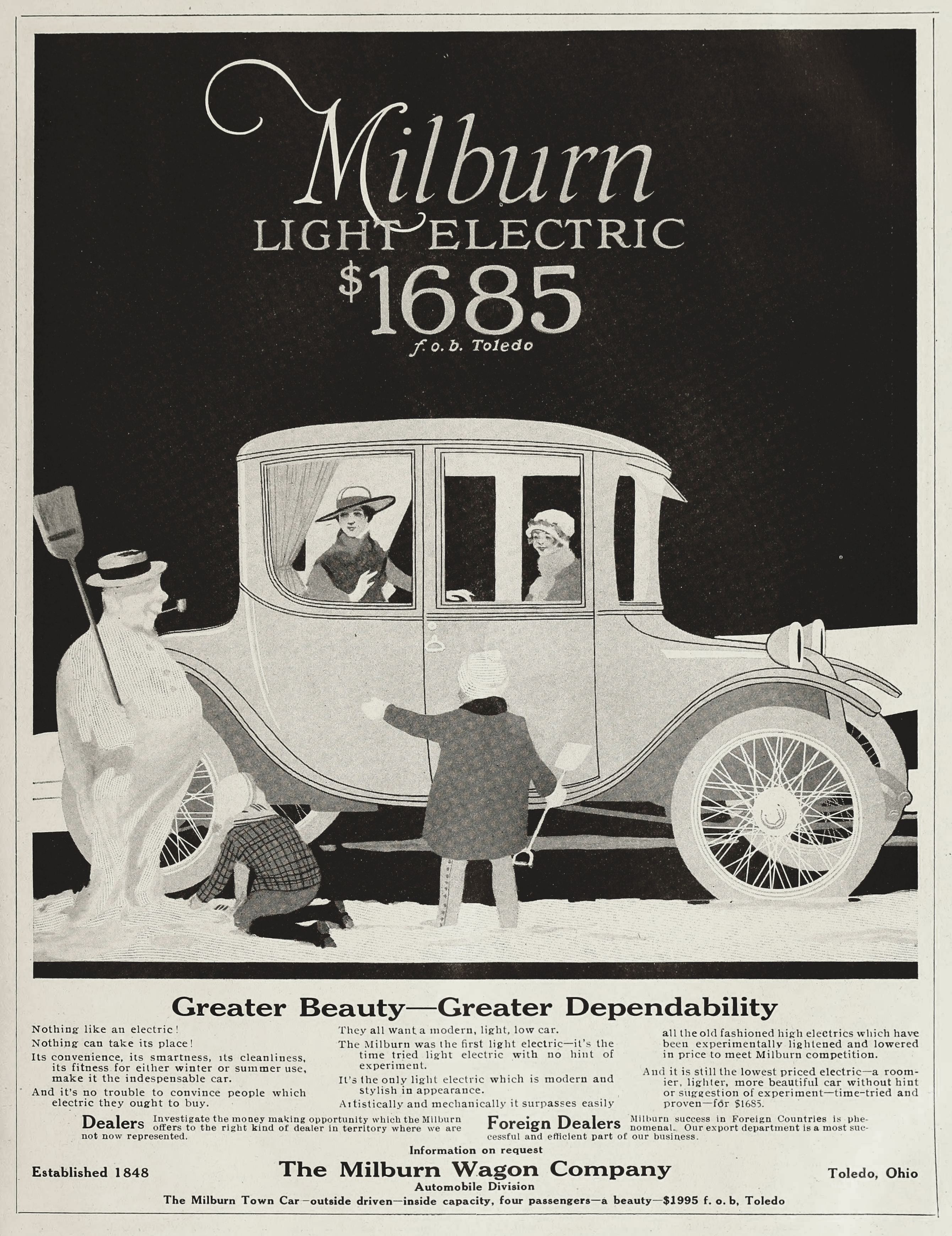 Milburn Wagon Company Christmas Electric Car Ads
