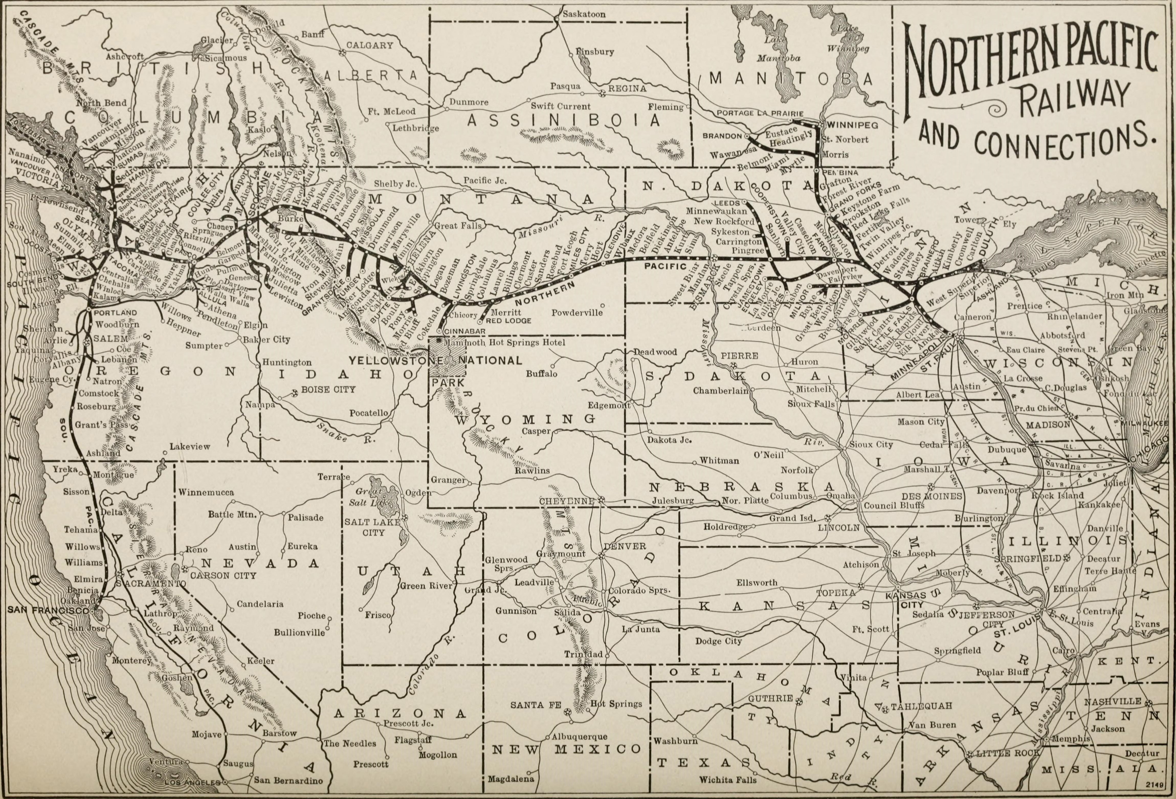northern pacific railroad map Route Map Northern Pacific Railway Wonderland Route 1897 northern pacific railroad map