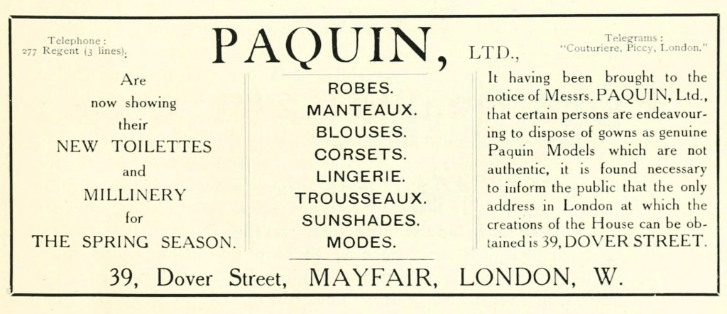 Paquin Advertisement in the English Review May 1915 Edition