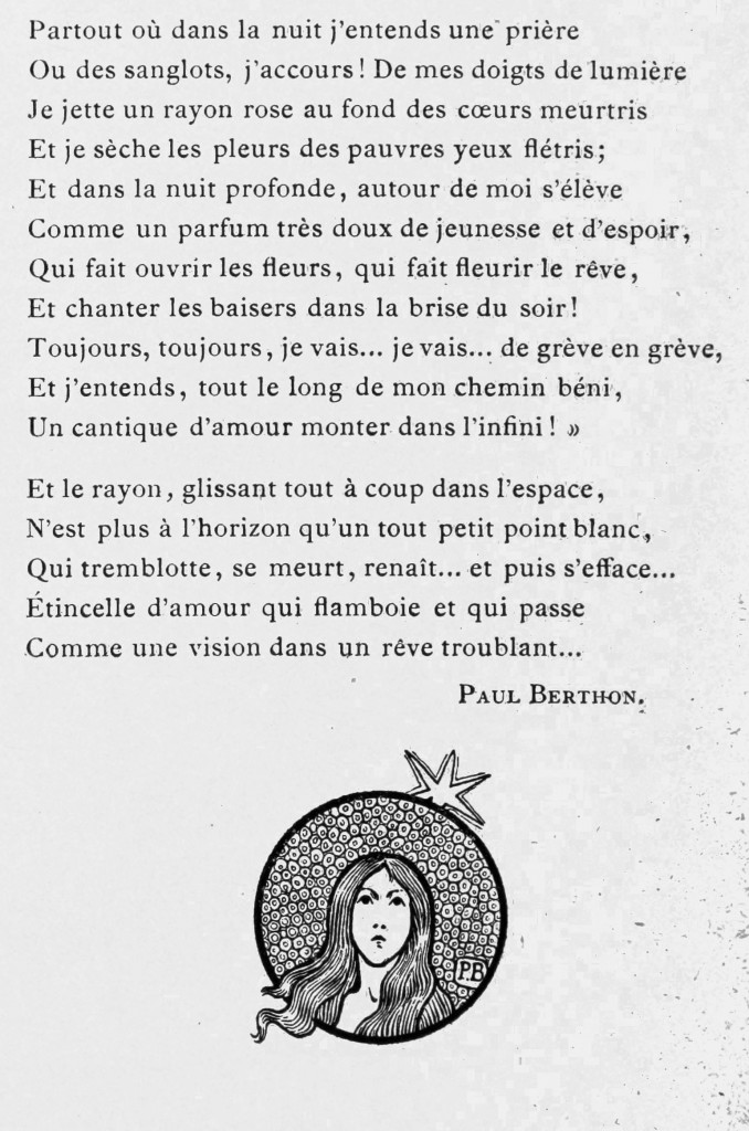 Poem by Paul Berthon Reve Aux Etoiles dedicated to E. Grasset