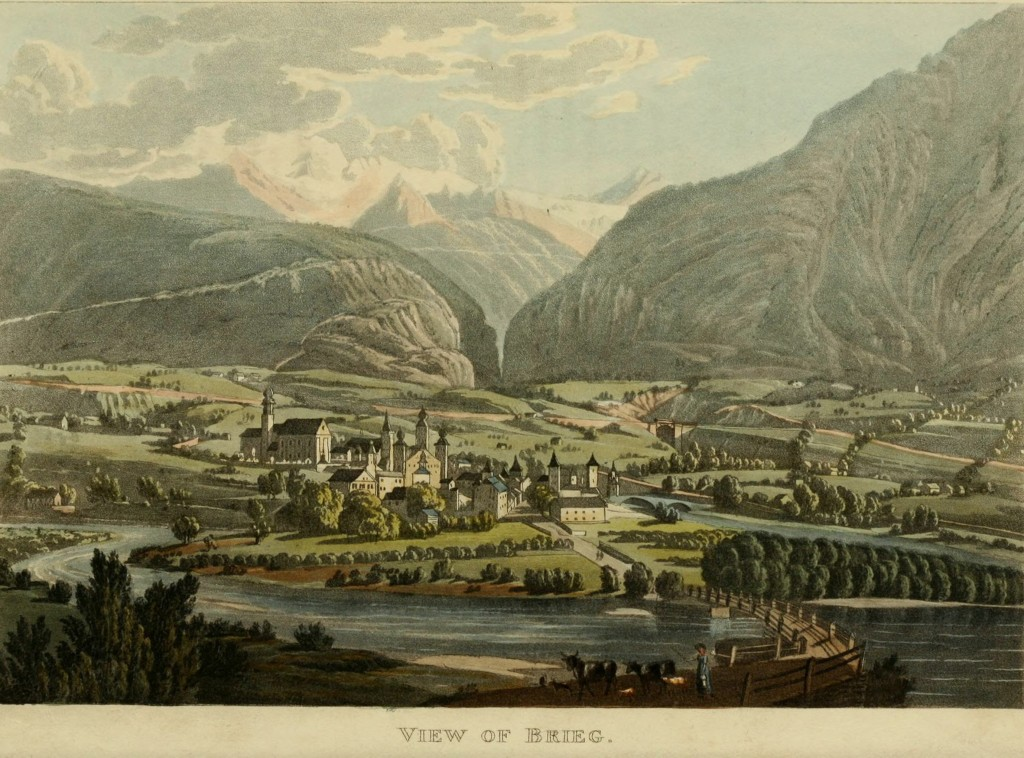 Illustration - View of Brig, Switzerland circa 1818