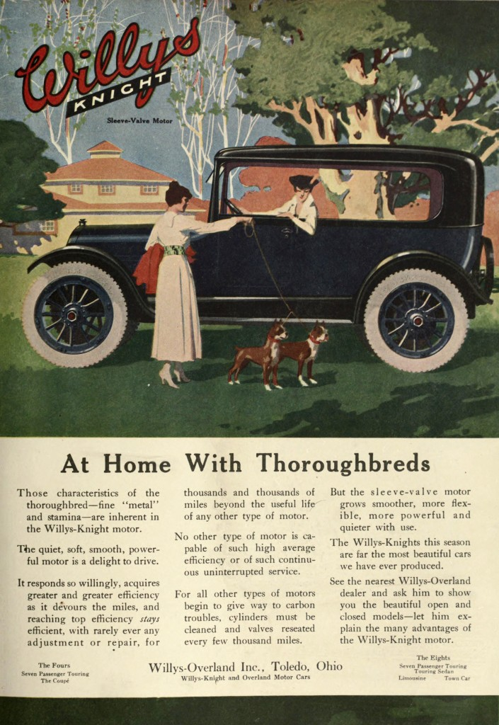 At Home With Thoroughbreds - Dogs Scene - Willys Knight Car Advertisement 1917