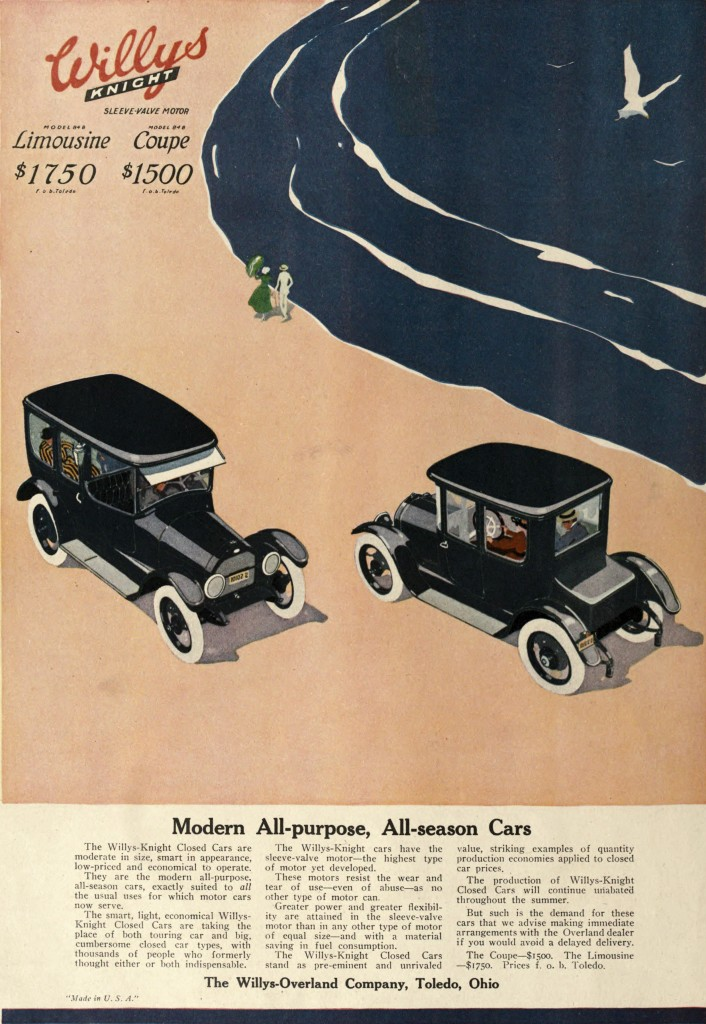 Beach and Car Scene - Advertisement 1916 - Willys Knight Car