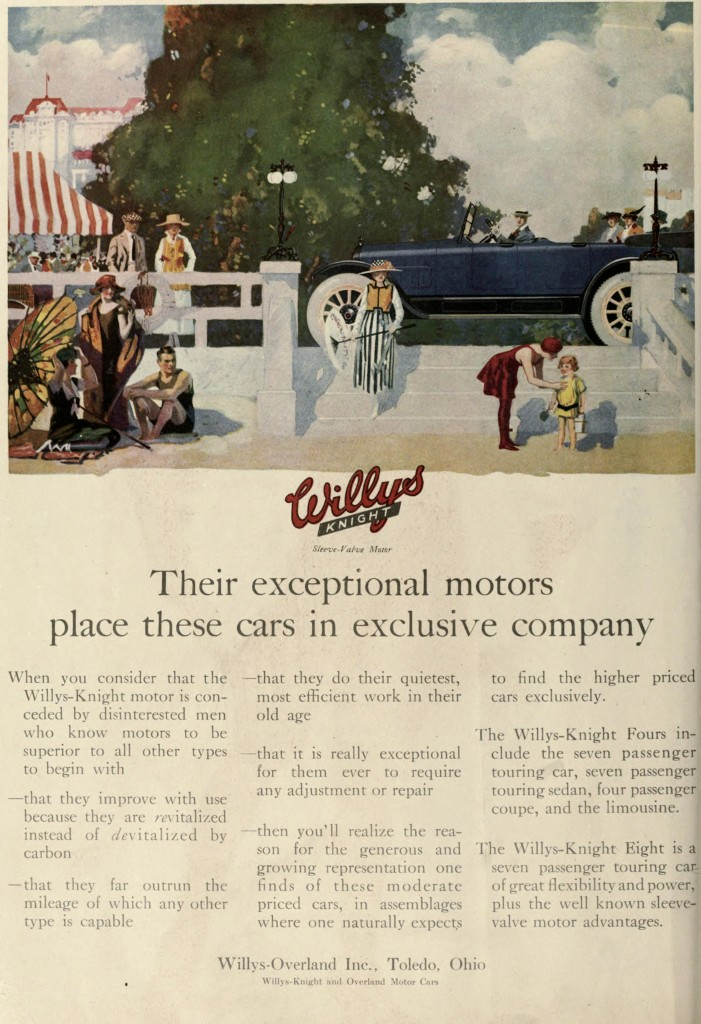 Beach and Car Scene - Advertisement 1917 Willys Knight Car