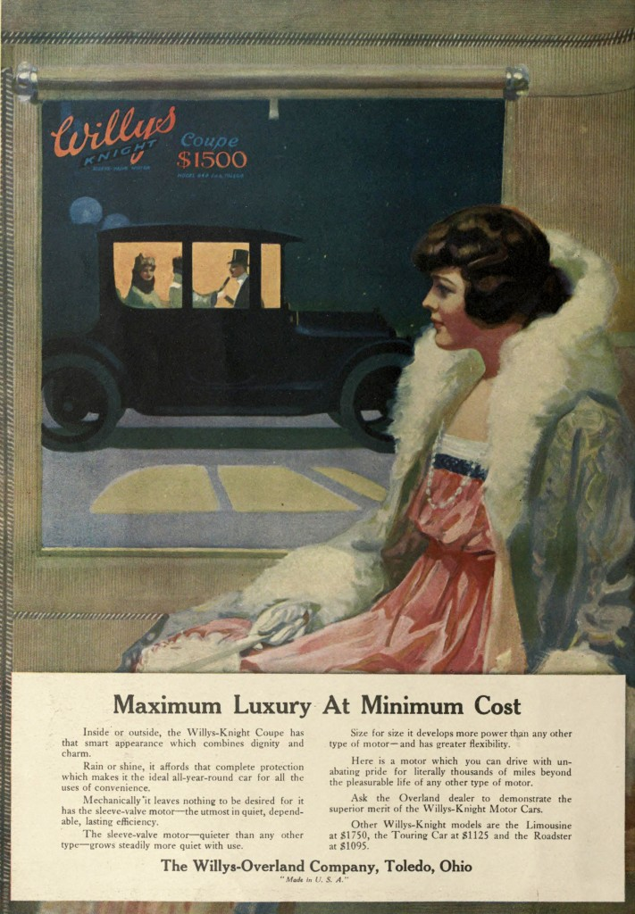 Night Scene - Willys Knight Car Advertisement 1916