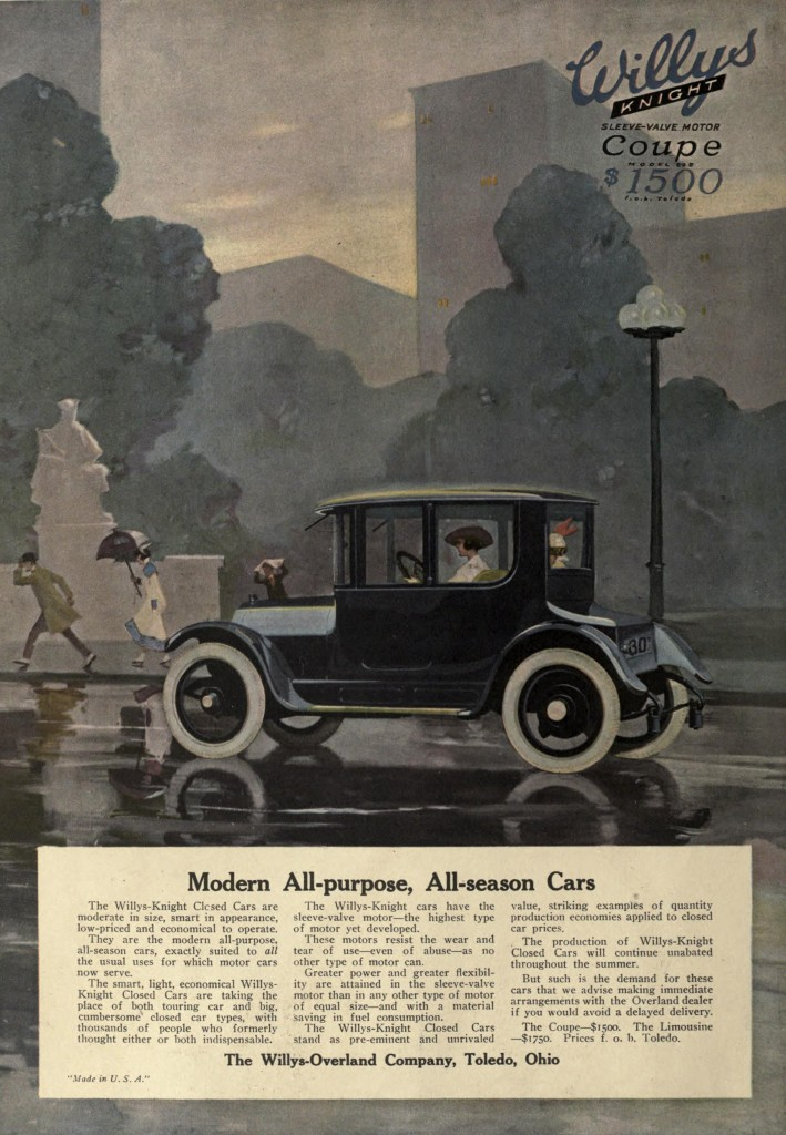 Rain And Car Coupe Scene - Willys Knight Car Advertisement 1916