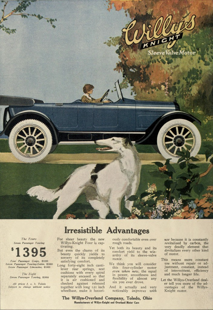 Driving with Dog in Foreground Scene - Willys Knight Car Advertisement 1917