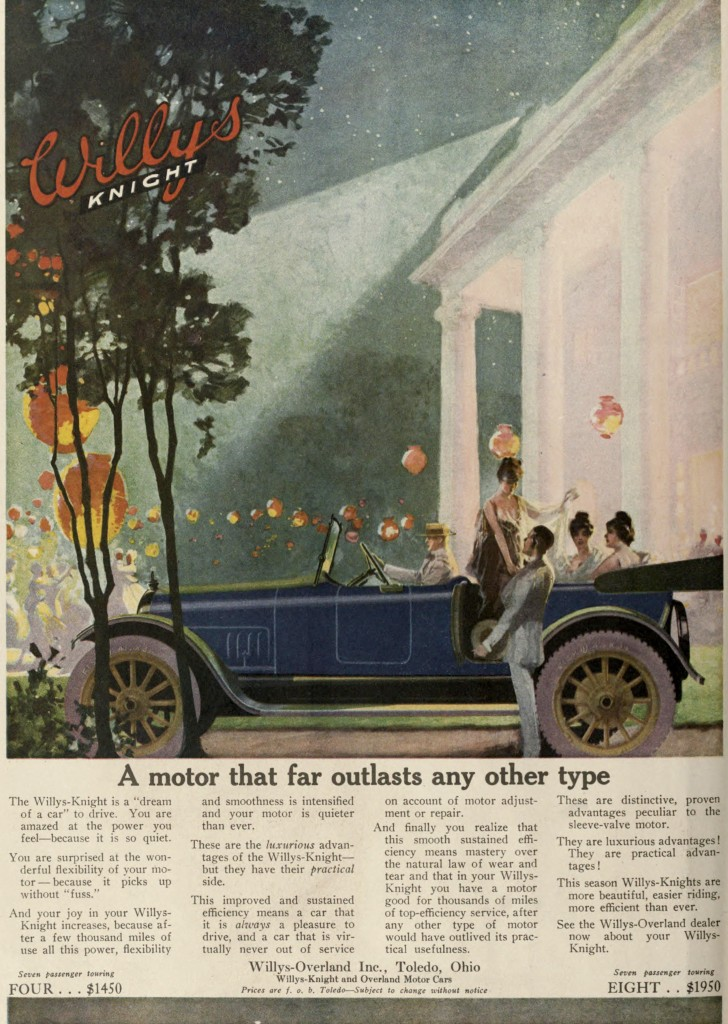 Evening Party Scene with Lights - Willys Knight Car Advertisement 1917