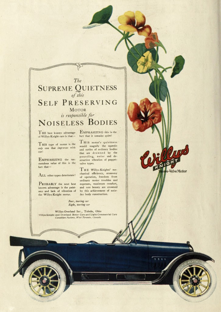Flowers Emerging from Car - Willys Knight Car Advertisement 1918