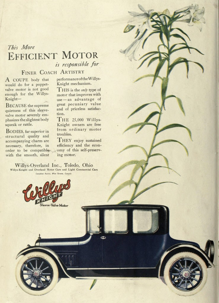 Lilies in the Background - Willys Knight Car Advertisement 1918