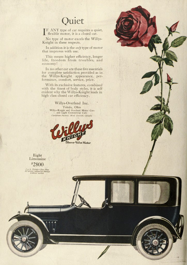 Rose in the Background - Willys Knight Car Advertisement 1918