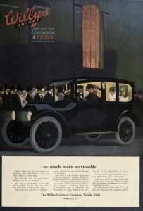 Night Scene with Limousine - Willys Knight Car Advertisement 1916
