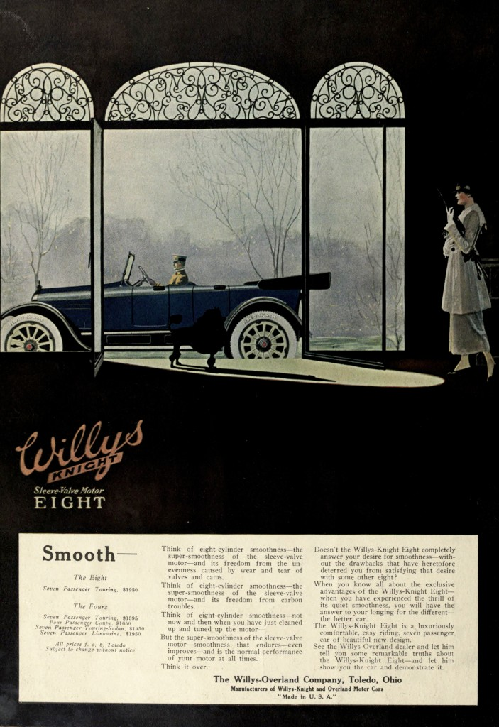 Knight Scene with Silhouettes - Willys Knight Car Advertisement 1917