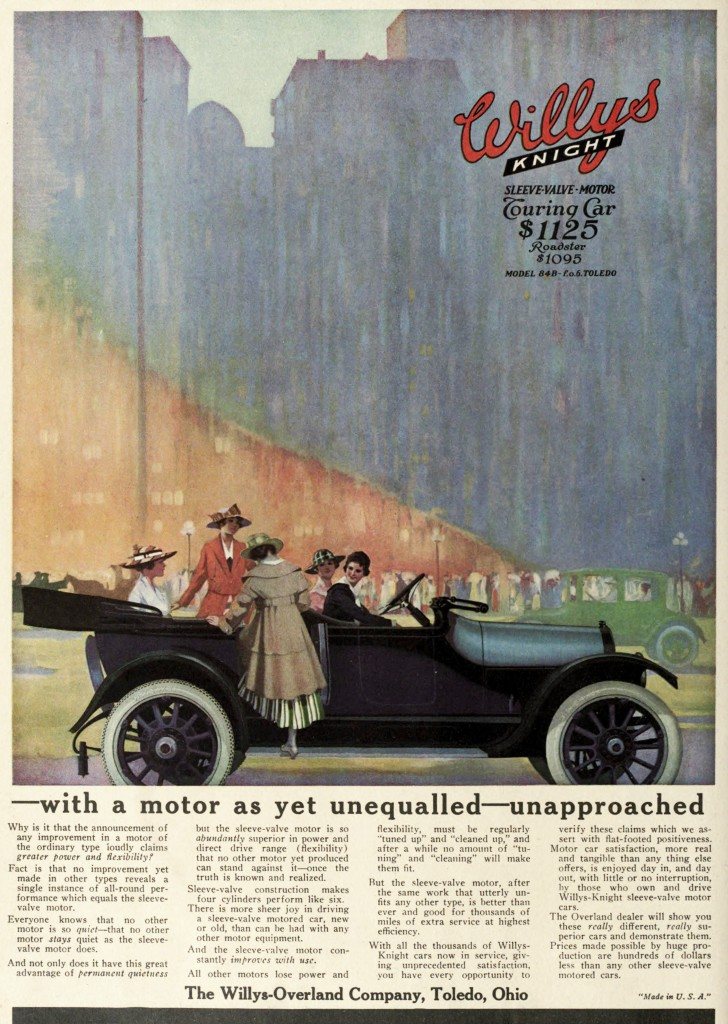 Willys Knight Car Advertisement Touring Car 1916