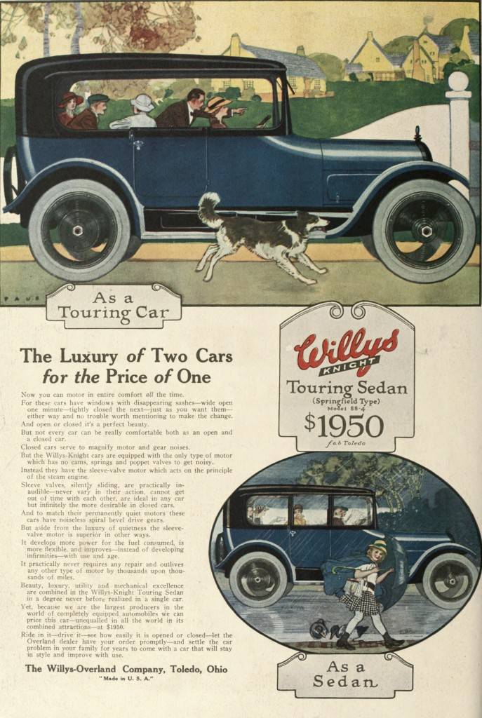 Willys Knight Car Advertisement Touring Sedan 1916