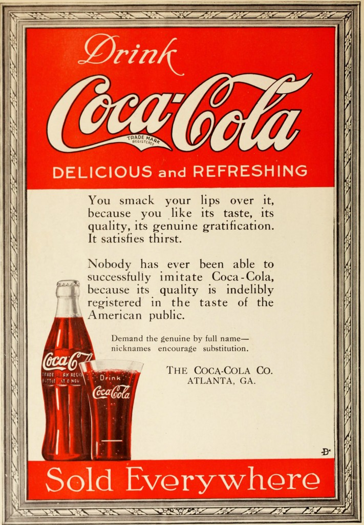 Coca-Cola Ad circa 1919 - Framed Drink and Sold Everywhere -