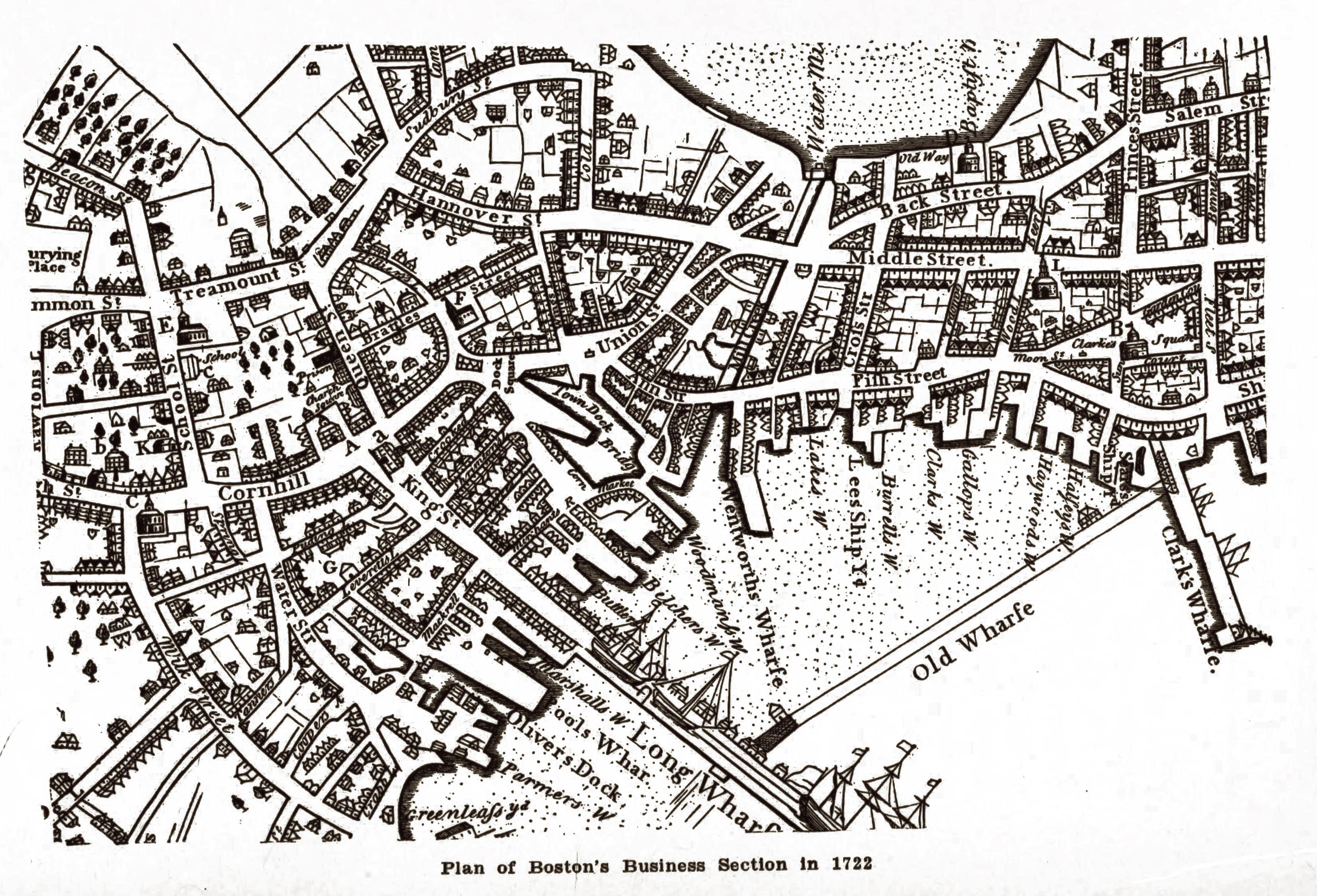 Antique Boston Map.Antique Map Of Boston 1722