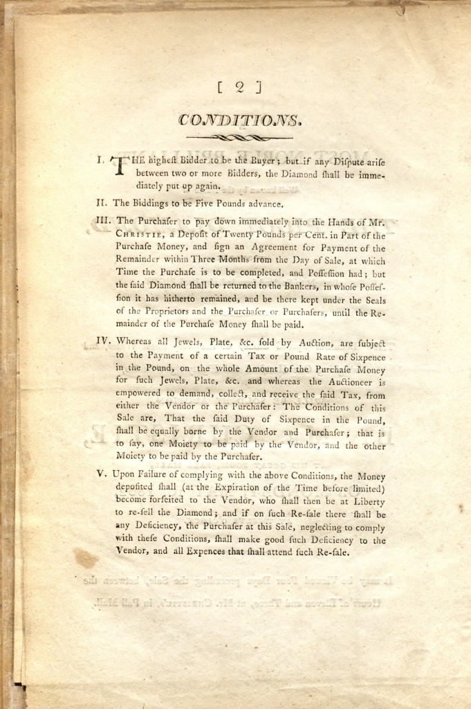 Christie's London Conditions of Sale of the Pigot Diamond circa May 10, 1802