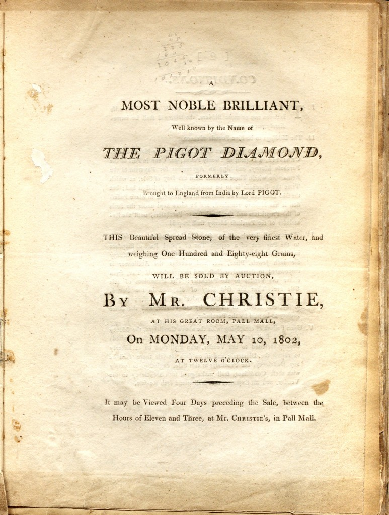 Pigot Diamond Auction - Christie's London  Announcement May 10, 1802