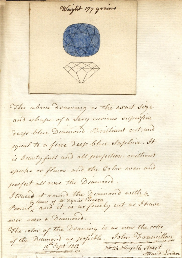 Pigot Diamond Drawing by John Francillon Sep 19, 1812 London