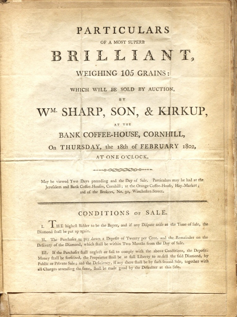 Sharp, Son and Kirkup Diamond Auction Announcement for February 18, 1802