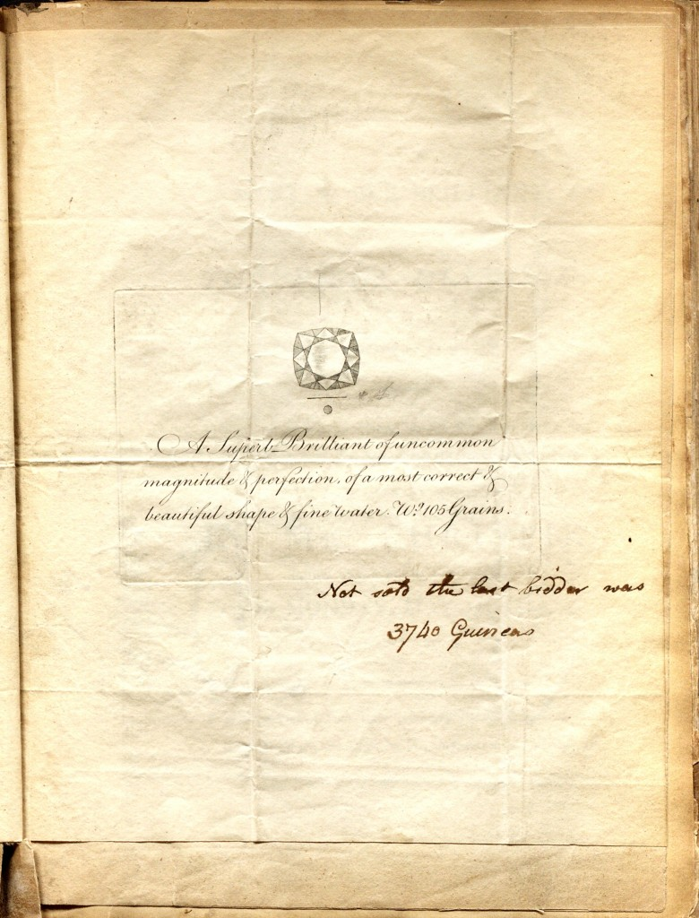 Diamond Drawing - Sharp, Son and Kirkup Diamond Auction Announcement for February 18, 1802