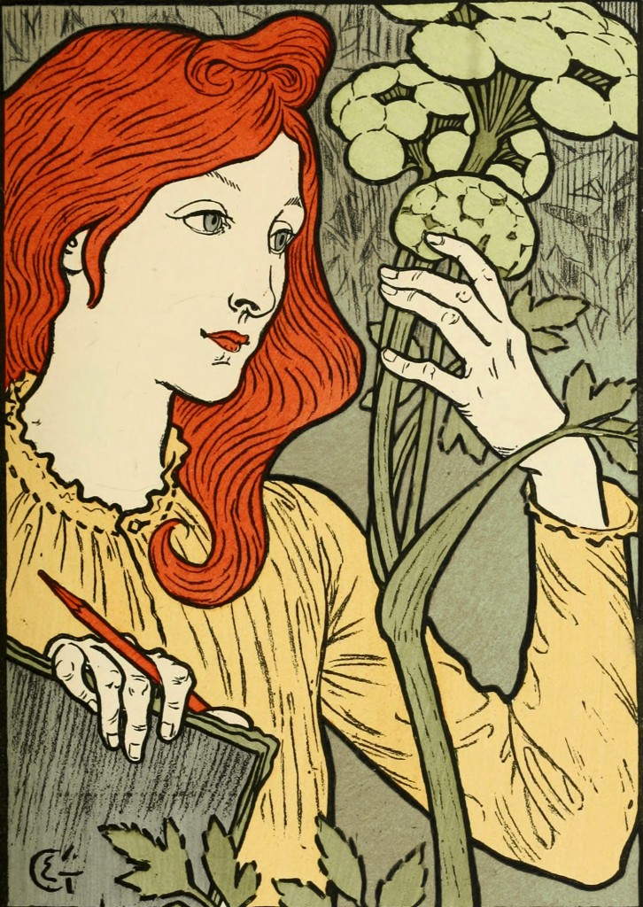 Eugene Grasset Poster with Grey-Green Background