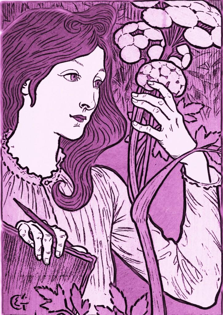 Eugene Grasset Art Nouveau Poster in Radiant Orchid